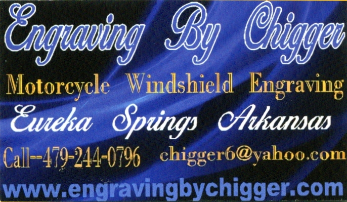 Engraving by Chigger ~ Motorcycle Windshield Engraving ~ (479) 244-0796